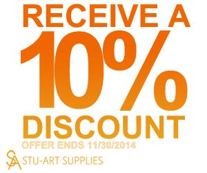 Stu-Art Supplies 10% OFF SUBSCRIPTIONS OCT-NOV 2014