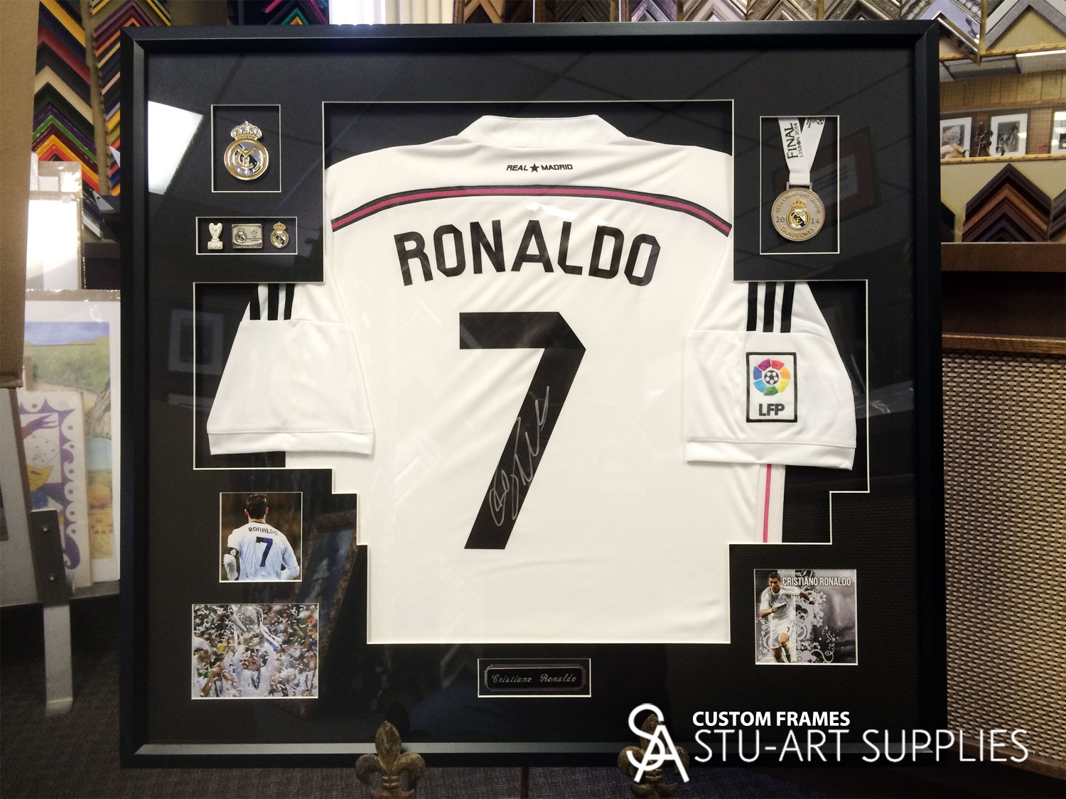 Custom framed Cristiano Ronaldo soccer jersey - Stu-Art Supplies ...
