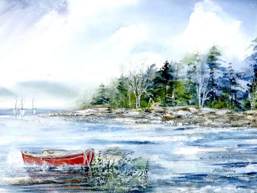 Beautiful Red Boat Watercolor painting by Elinor Carbone @ Stu-Art Supplies