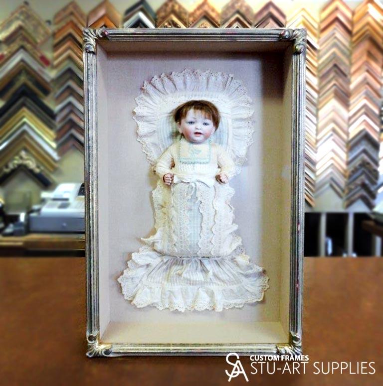 custom framed doll from 1915, by Stu-Art Supplies