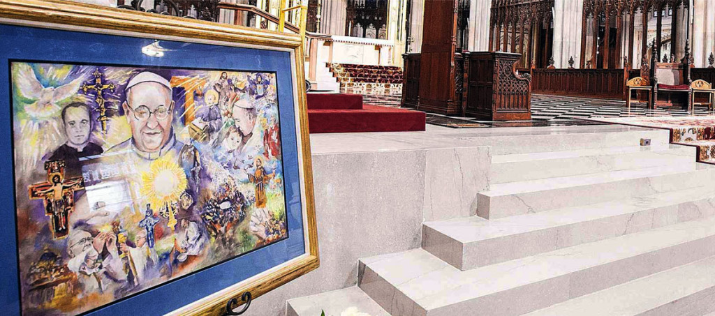 Pope Francis painting by Catherine White at St Patrick's Cathedral