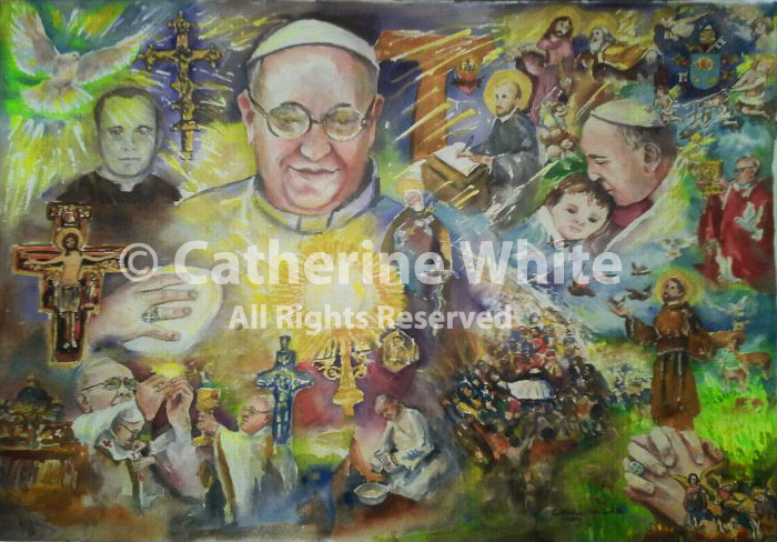Semita Lucis; Path of Light Pope Francis painting by Catherine White